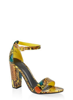 Snake Print Ankle Strap High Heel Sandals - YELLOW SKIN PRINT - 1111014066273