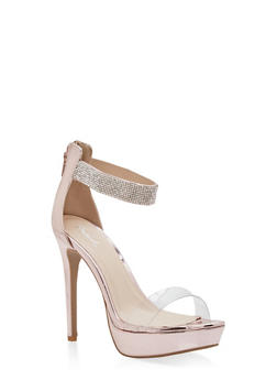Rhinestone Ankle Strap Platform Sandals - 1111029912820