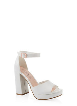 Single Band Block High Heel Sandals - 1111056632656