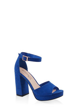 Single Band Block High Heel Sandals - ELECTRIC BLUE - 1111056632656