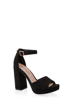 Single Band Block High Heel Sandals - BLACK SUEDE - 1111056632656