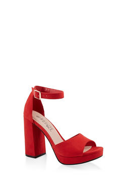 Single Band Block High Heel Sandals - RED S - 1111056632656