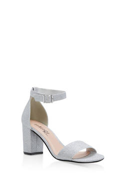 Mid Heel Ankle Strap Sandals - SILVER GLITTER - 1111056635823