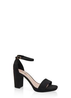 Block Heel Sandals - BLACK SUEDE - 1111056638431