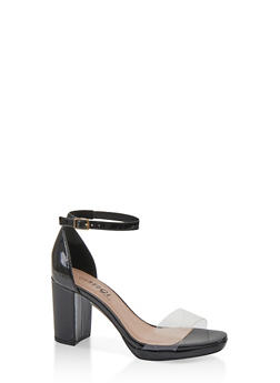 Block Heel Sandals - BLACK MULTI - 1111056638431