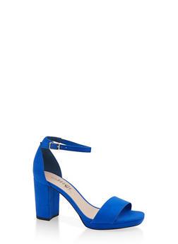Block Heel Sandals - BLUE - 1111056638431