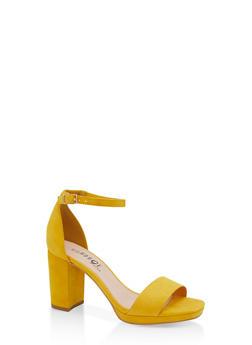 Block Heel Sandals - YELLOW S - 1111056638431