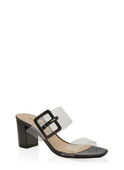 Buckle Detail Mid Heel Sandals - 1111056639790