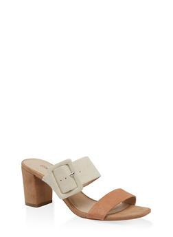 Buckle Detail Mid Heel Sandals - NATURAL - 1111056639790