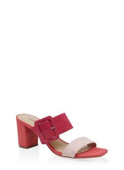 Buckle Detail Mid Heel Sandals - PINK - 1111056639790