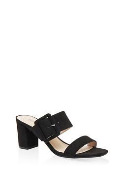 Buckle Detail Mid Heel Sandals - BLACK SUEDE - 1111056639790