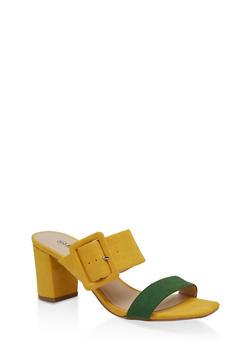 Buckle Detail Mid Heel Sandals - BRIGHT MULTI S - 1111056639790