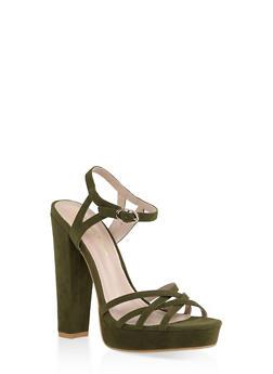 Criss Cross High Heel Sandals - OLIVE - 1111062862262
