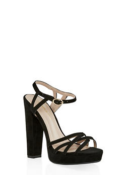 Criss Cross High Heel Sandals - BLACK SUEDE - 1111062862262