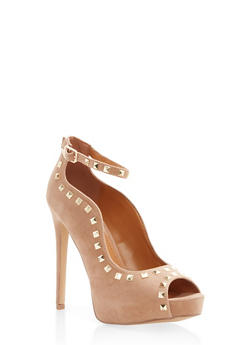 Studded Peep Toe Ankle Strap Pumps - TAUPE - 1111062862274