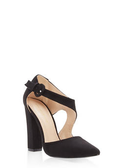 Pointed Toe Faux Suede Pumps - BLACK - 1111062862435