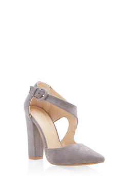 Pointed Toe Faux Suede Pumps - GRAY - 1111062862435