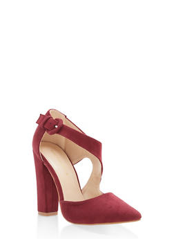 Pointed Toe Faux Suede Pumps - WINE - 1111062862435