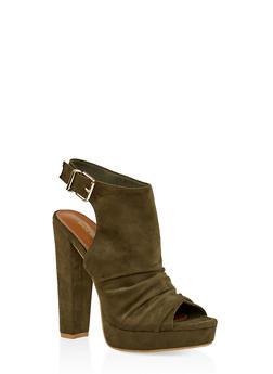 Chunky High Heel Sandals - OLIVE - 1111062865395
