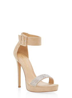 Rhinestone Detail High Heel Sandals - NUDE - 1111062867673