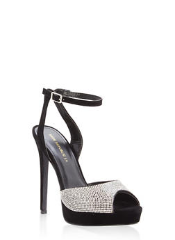 Rhinestone Peep Toe High Heel Sandals - BLACK - 1111062869253