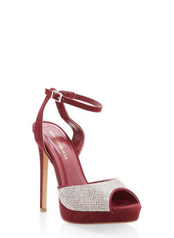 Rhinestone Peep Toe High Heel Sandals - BURGUNDY - 1111062869253