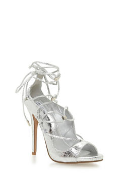 Lace Up Peep Toe Stiletto Heels - SILVER - 1111070965347