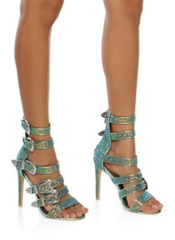 Strappy Buckle High Heel Sandals - GREEN - 1111070969854