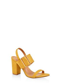 Buckle Slingback Sandals - MUSTARD - 1111073541001