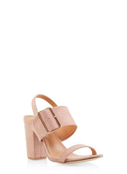 Buckle Slingback Sandals - BLUSH - 1111073541001