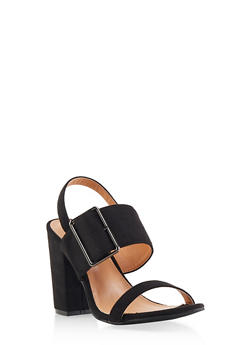 Buckle Slingback Sandals - BLACK SUEDE - 1111073541001