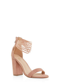 Elastic Ankle Strap Block Heel Sandals - BLUSH - 1111073541002