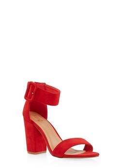 Block Heel Ankle Strap Sandals - 1111073541003