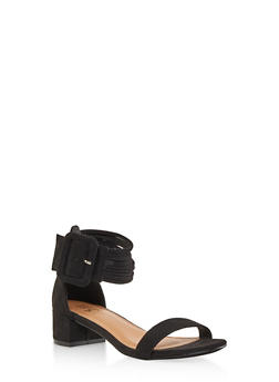 Strappy Block Heel Sandals - BLACK SUEDE - 1111073541004