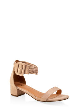 Strappy Block Heel Sandals - NUDE - 1111073541004