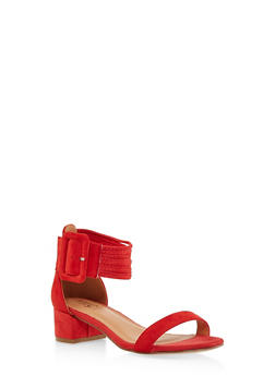 Strappy Block Heel Sandals - RED S - 1111073541004