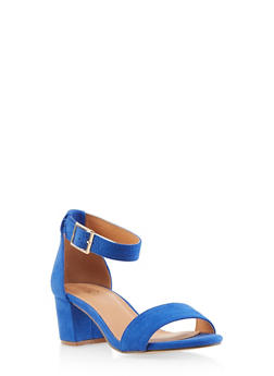 Ankle Strap Block Heel Sandals - RYL BLUE - 1111073541005