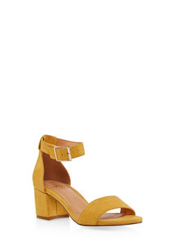 Ankle Strap Block Heel Sandals - MUSTARD - 1111073541005