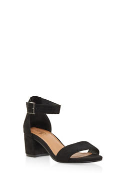 Ankle Strap Block Heel Sandals - BLACK SUEDE - 1111073541005