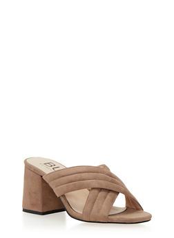 Block Heel Sandals with Criss Cross Straps - 1111073541741
