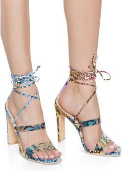 Snake Print Lace Up Heels - 1111074045279