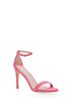 High Heel Ankle Strap Sandals - FUCHSIA - 1111074453567