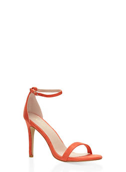 High Heel Ankle Strap Sandals - CORAL - 1111074453567