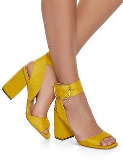 Block Heel Sandals - MUSTARD - 1111075156652