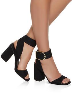 Block Heel Sandals - BLACK SUEDE - 1111075156652