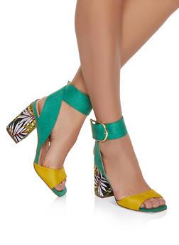 Block Heel Sandals - GREEN S - 1111075156652