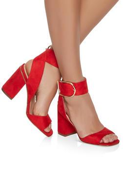 Block Heel Sandals - RED S - 1111075156652