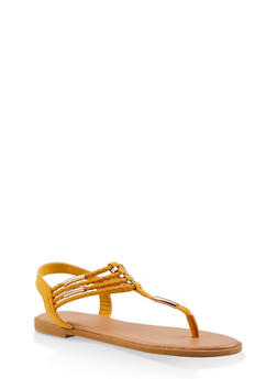Braided Strap Thong Sandals - YELLOW - 1112004062436