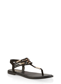 Braided Strap Thong Sandals - BLACK SUEDE - 1112004062436