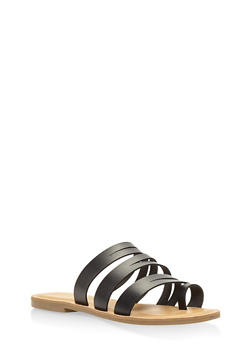Strappy Toe Ring Slide Sandals - BLACK - 1112004062471